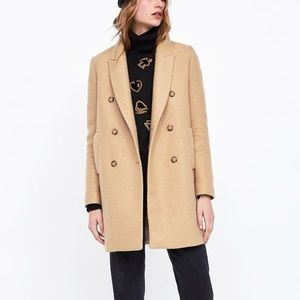 Zara light camel double breasted pea coat